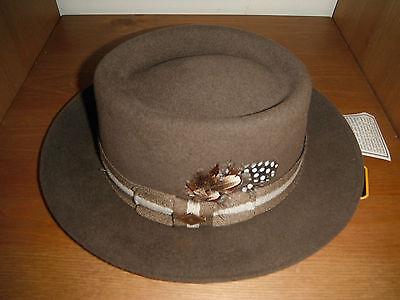 New Fur Felt - New Mens Rabbit Fur Felt porkpie Hat Furfelt size small made in usa !