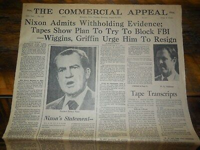 The Commercial Appeal August 6 1974 (Nixon Admits Withholding Evidence & Tapes)