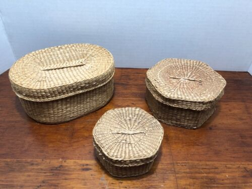 Vintage Woven Sweet Grass Nesting Baskets With Lids Sewing Decorative