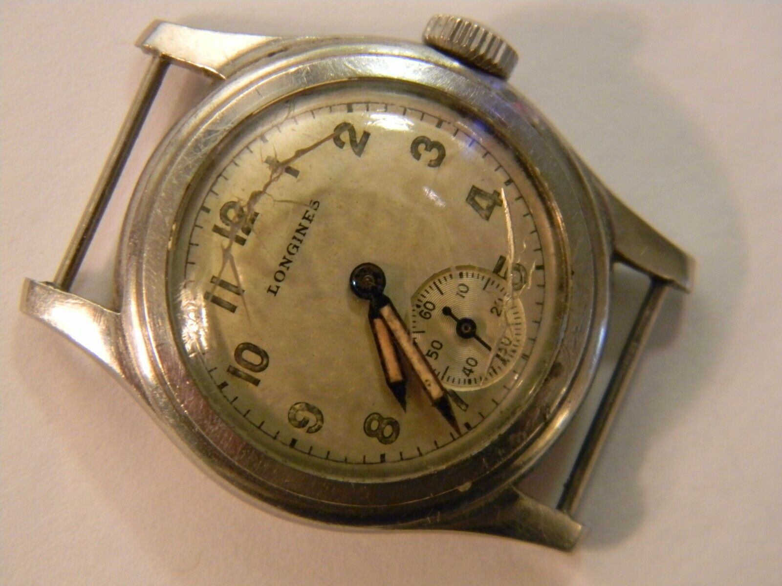 RARE VINTAGE 1944 WW2 LONGINES MILITARY LADIES STAINLESS STEEL WATCH - RUNS