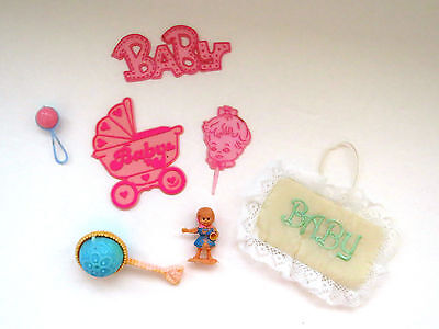 Vtg Baby Girl Cake Cup Cake Decorations - Lot of 8 Baby Shower Crafts Scrapbook
