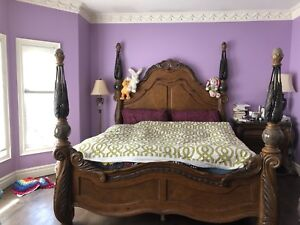 MOVING SALE - King Size Bed with Posts