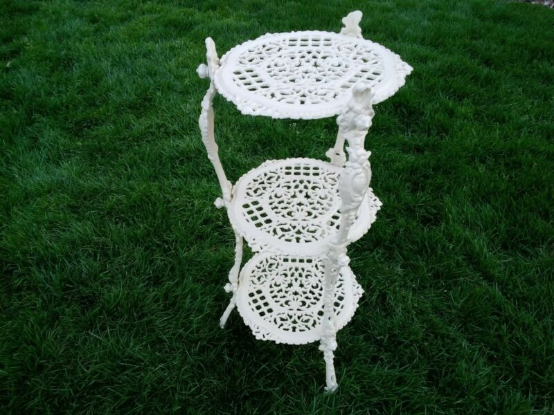 Antique Victorian Cast Iron 3 Tier Plant Stand  with No Rust