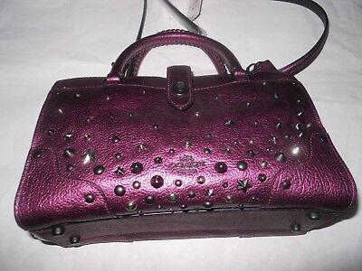 Coach Mercer Satchel 24 Metallic Leather Star Rivets Mauve Pink Limited Ed *new*