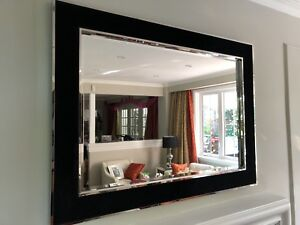 Large Chrome & black velvet mirror