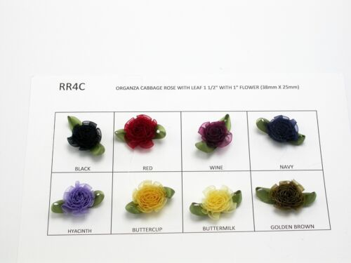 """Organza Cabbage Roses 1 1/2"""" (38mm) Various Colors"""