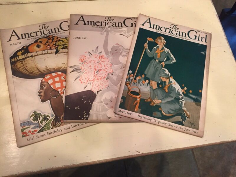 "1933 Girl Scout Maganzines Lot ""The American GIrl"""
