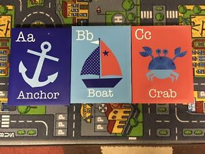 ABC Canvas prints for baby's nautical room