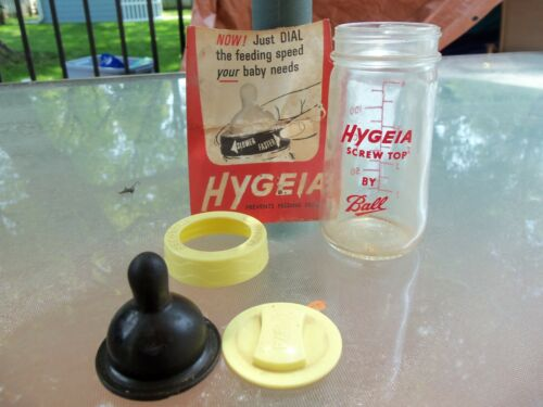 VINTAGE HYGEIA SCREW TOP GLASS BABY BOTTLES BY BALL NOS 4 oz