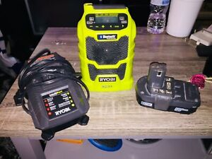 Bluetooth Ryobi portable work radio with battery and charger set