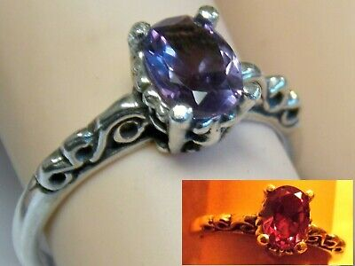 COLOR CHANGE ALEXANDRITE ANTIQUE 925 STERLING SILVER SCROLL RING SIZE 4.75 USA ()