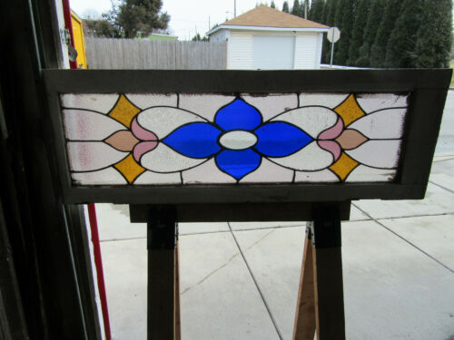 ~ ANTIQUE AMERICAN STAINED GLASS TRANSOM WINDOW ~ 46 X 17 ~ARCHITECTURAL SALVAGE