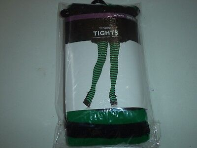One Size Green Womans Tights With Black Stripes - Green Black Striped Tights
