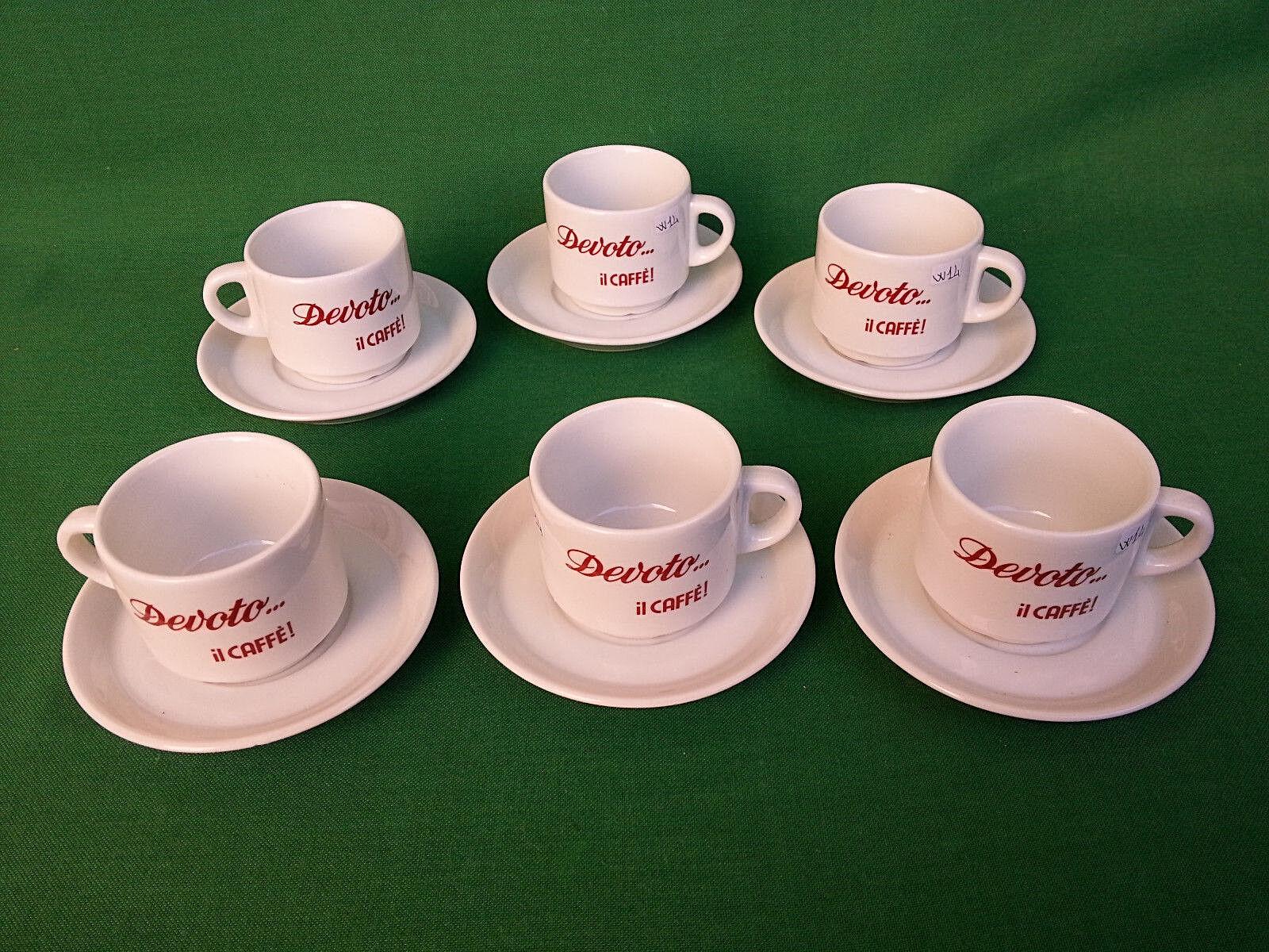 SET 6 TAZZE DA CAPPUCCINO IN PORCELLANA CON MARCHIO DEVOTO, IL CAFFE'. N° W14.