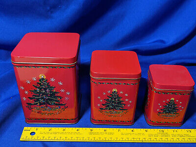 Nesting Xmas Canister Tins Russian-Nesting-Doll-Style VTG Mini Cookie Candy Set ()