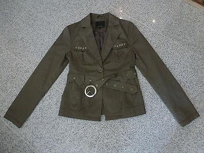 Amisu Jacke, Damenjacke, khaki einreihig mit Gürtel Baumwolle Frühling Gr 36 - Einreiher Mit Gürtel