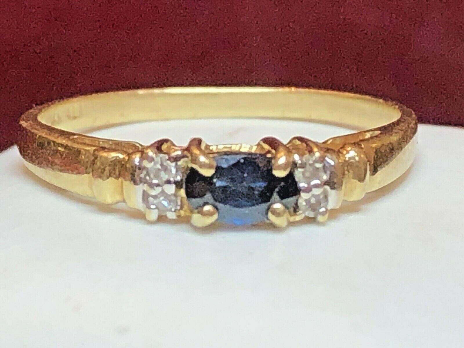 VINTAGE ESTATE 14K GOLD NATURAL BLUE SAPPHIRE DIAMOND RING ENGAGEMENT SIGNED ALI