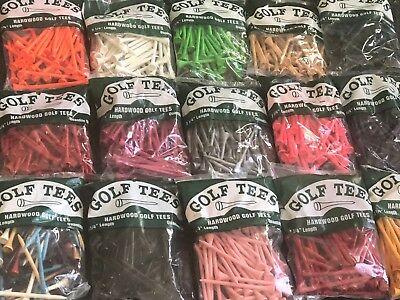 200 Professional Bagged Hardwood Golf Tees Free Shipping Made in USA - Tees Golf