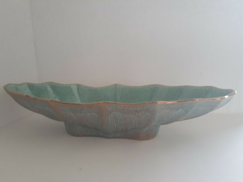 VTG California Originals Pottery, Console Bowl No.772 Turquoise & Gold Splatter
