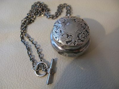 Antique Victorian Art Nouveau Chatelaine STERLING Silver Compact Coin Holder Fob