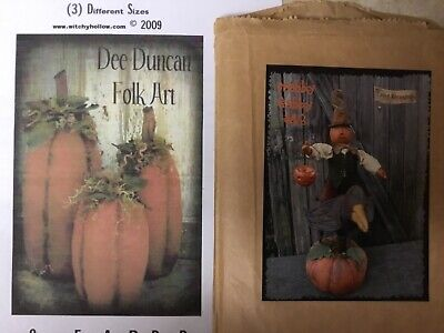 Primitive Halloween Fall Folk Art Slim Pumpkins or Crabby Gabby Patterns](Halloween Art Pumpkins)