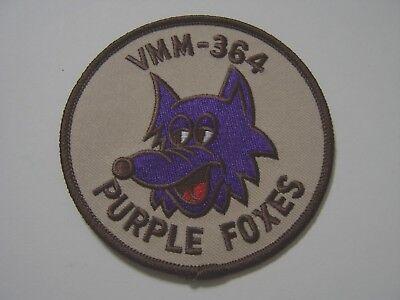USMC AVIATION UNIT PATCH - VMM-364 PURPLE FOXES DESERT TAN COLOR :GA18-1