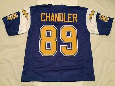 Unsigned Custom Sewn Stitched Wes Chandler Blue Jersey   M  L  Xl  2Xl