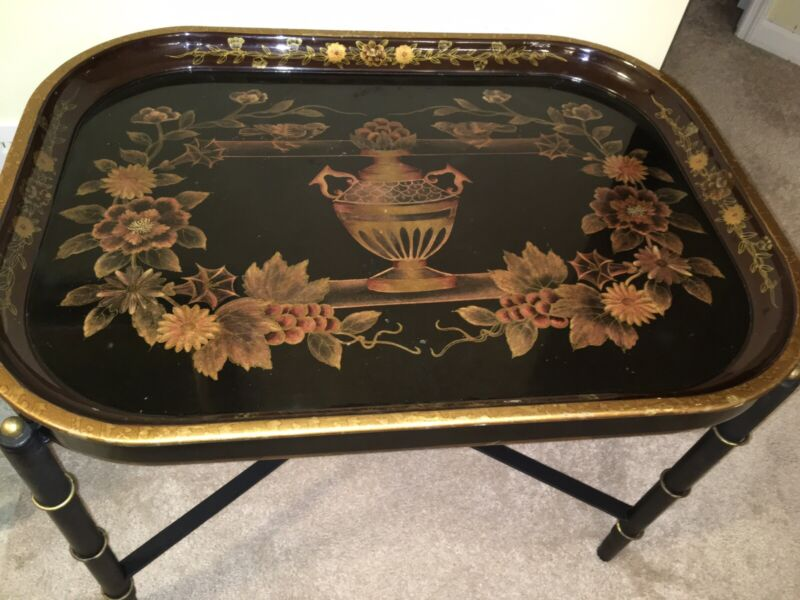 Vintage Rare Beautiful Toile Enameled Large Butler Tray With Stand Or Side Table