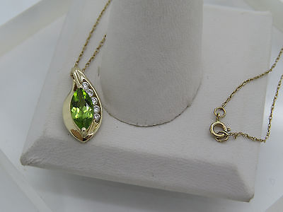 Solid 10k Yellow Gold Marquise Green Peridot Round White Accent Pendant Necklace