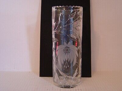 BEAUTIFUL VINTAGE TALL CYLINDER SHAPED CUT GLASS AND FROSTED FLORAL VASE 10""