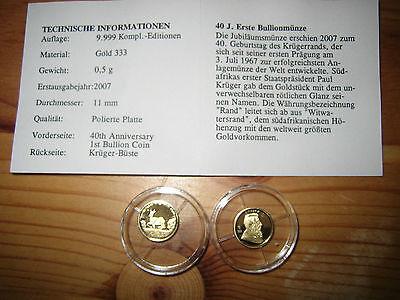 Afrika GOLDMÜNZE 333,  40 Jahre Bullionmünze, Durchmesser 11 mm ()