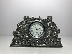 Lenox Williamsburg Kirk Stieff Collection Pewter Desk Clock Quartz w/ Nymphs
