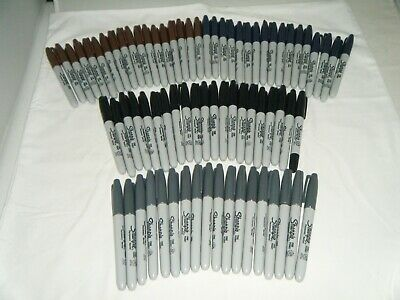 Lot Of 74 Sharpie Fine Point Permanent Markers Black Navy Brown Gray