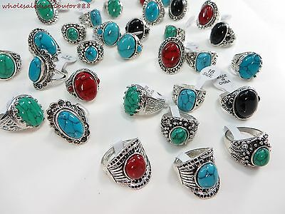 wholesale rings 20pcs women costume jewelry bulk lot wholesale turquoise rings