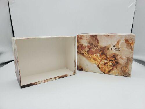 Vintage Rolex Outer Box Empty Quartz Marble Look Natural Colors 7 x 6 x 3