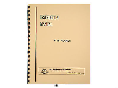 Enterprise Crescent P-18 Wood Planer Instruction And Parts List Manual 838