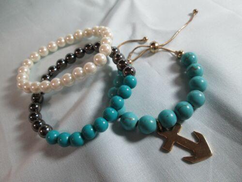 Bracelet Lot of 3: Gold Tone Stretch & Adjustable / Hematite Glass & Acrylic