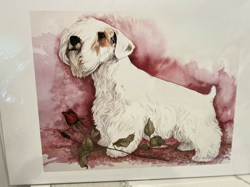 Sealyham Terrier With Rose Ltd Ed 11x14 Singed Print By Van Loan