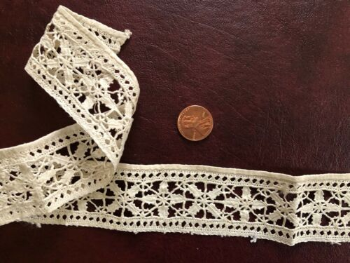 Narrow band of 17th C. Italian Reticella needle lace  COLLECTOR