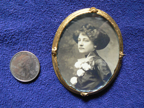 """Antique Victorian Photo Brooch Pin Old C-Clasp 2 3/4"""""""