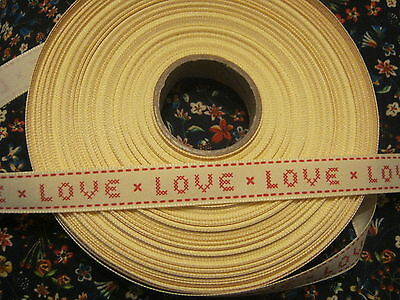 5 metres  berisfords Natural Charms ribbon Love Cross Stitch - WEDDINGS ETC