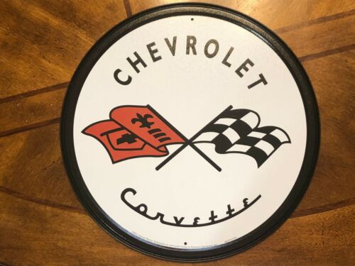 "Chevrolet Corvette Racing Flags 12"" ROUND METAL WALL SIGN Garage Mancave GM"