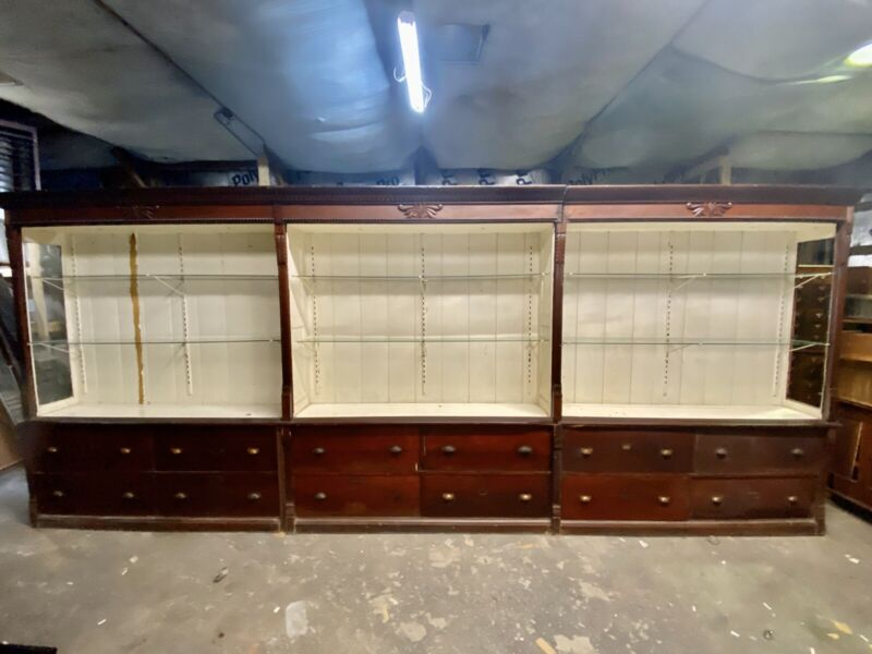 """Cherry Pharmacy Apothecary General Store Cabinet WILL SHIP 18'L X 7'6""""H X17"""""""