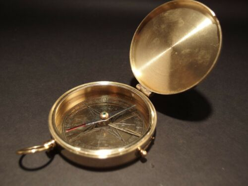 """Vintage Antique Style 3"""" Polished Brass Heavy Maritime Navigational Compass"""