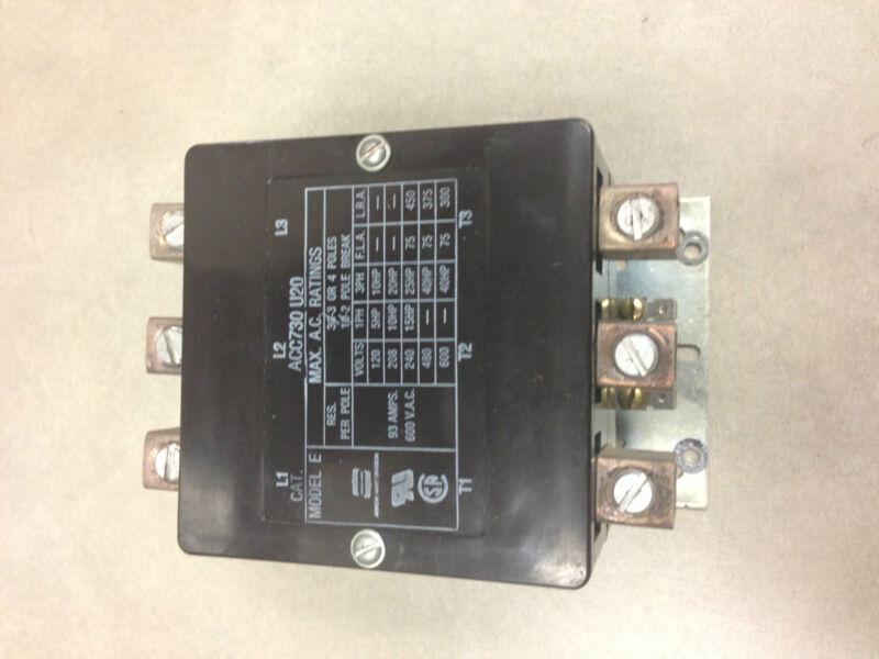 ACC730U20 Arrow Hart Contactor 93A 120V 60HZ Coil