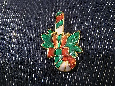 Really lovely enamel badge festive design Christmas candy cane approx 2ins long