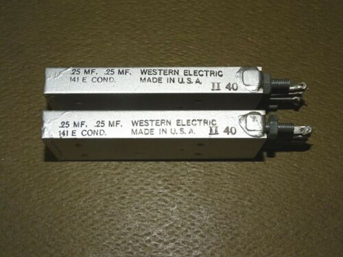 Pair, Western Electric Type 141-E Capacitors/Condensers, Dual .25 MFD, Good