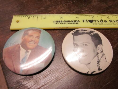FATS DOMINO AND PAT BOONE 1950s PINBACK BUTTONS/BADGES