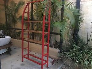 Iron frame in red with adjustable timber boards 1950Hx900Wx300D Lathlain Victoria Park Area Preview