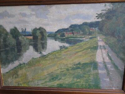 Ancienne peinture à l'huile sur toile signé Charles Houben 83x58 cm cadre bois